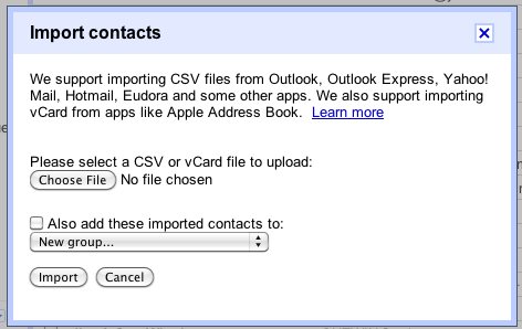 Import Contacts into Gmail