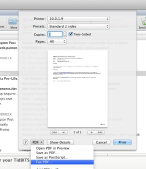 Faxing in Mac OS Lion